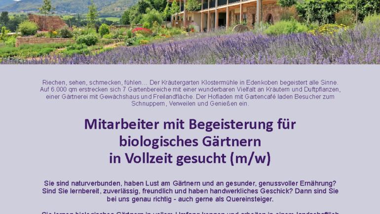 Mitarbeiter biologisches Gärtnern gesucht!